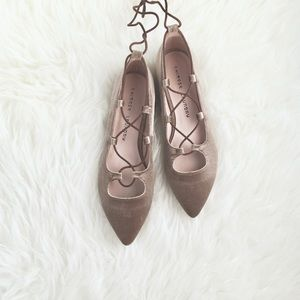 """Chinese Laundry """"Wren"""" Taupe Velvet Laceup Flats 7"""